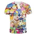 Venta caliente verano de las mujeres tee tops 2015 impresora 3D de dibujos animados comic de manga corta de cuello redondo casual camiseta tops para las mujeres harajuku camisetas