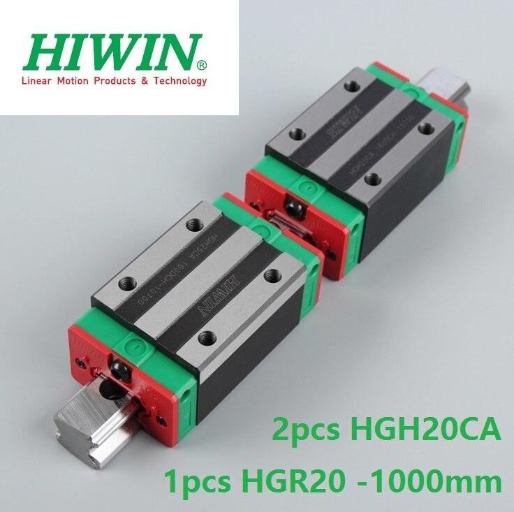1pcs 100% original Hiwin linear rail HGR20 -L 1000mm + 2pcs HGH20CA linear square block for cnc 1pcs hiwin hgr20 linear guide rail 2000 mm 2pcs hgh20ca for custom length cnc kit