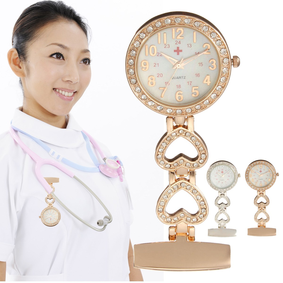 Clip-on Fob Quartz Brooch Heart Shaped Hanging Nurse Pin Watch Crystal Men Women Steel Fashion Vest-Pocket Watches Clock new luxury round dial clip on fob nurse pocket watch quartz brooch hanging fashion men women luminous pin watch steel relogio