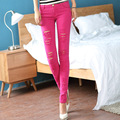 Hot 2016 Women Sexy Stretch Candy Colored Slim Fit Skinny Ripped Hole Pencil Pant Solid Color Tight Low Waist Cotton Trousers