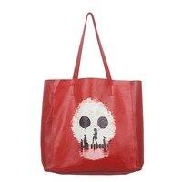 2018 Individuality Printing Women Genuine Leather Bags Stylish Casual Handbags Women Soft Bucket Bags Big Shopping