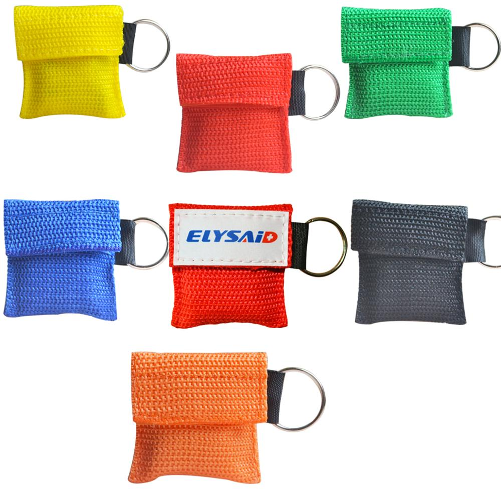 100Pcs CPR Mask CPR Face Shield With Keychain Yellow Nylon Pouch First Aid Rescue Kit Emergency