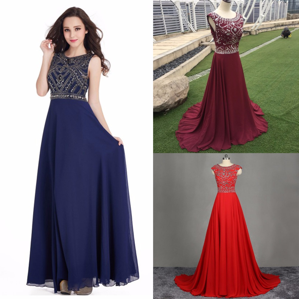 In Stock Bling Crystals Evening Dresses A Line Evening Gown Burgundy Royal Blue Red Black Long