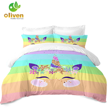 Cute Unicorn Bedding Set Colorful Rainbow Striped Duvet Cover Kids Cartoon Twin Full Queen King Bedclothes 3Pcs D45