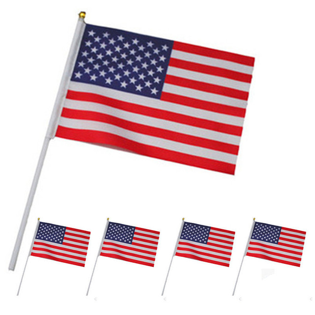 10pcs American Flag Hand Wave Flags 14 21cm Us Usa National Flags