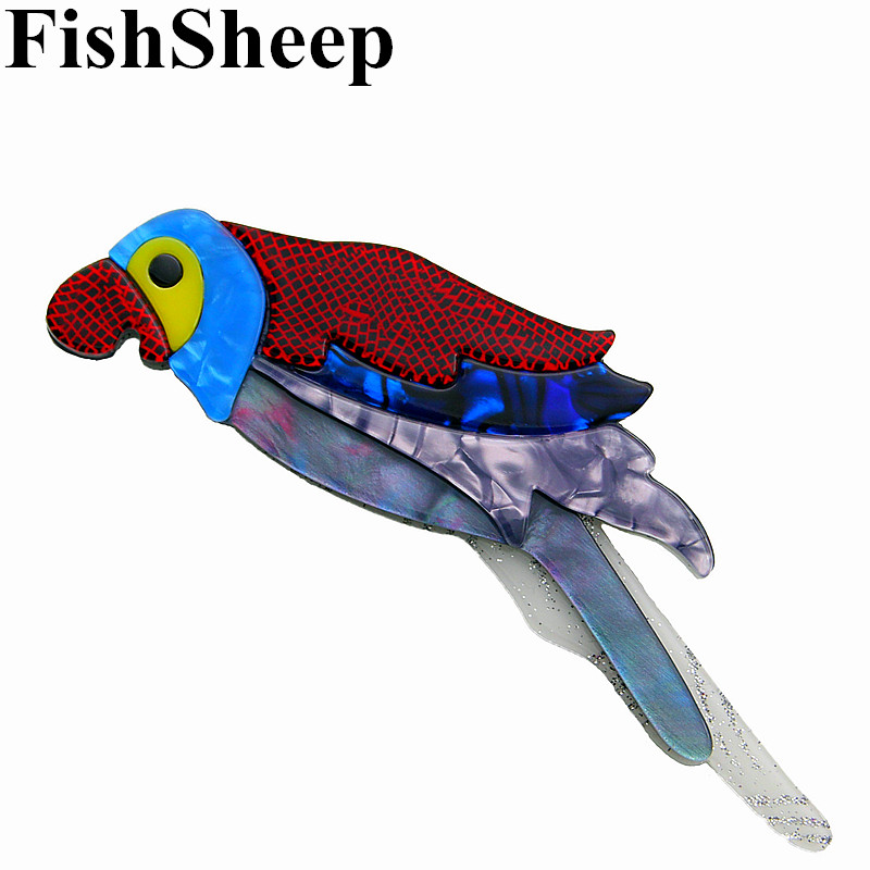 FishSheep 2018 New Acrylic Bird Brooches For Women Large Resin Colorful Birds Parrot Brooch Pins Fashion Ladies Jewelry Gifts