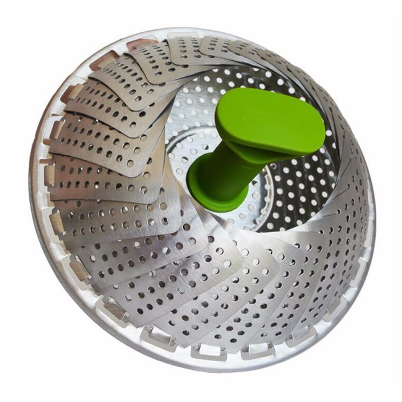 New Stainless Steel Steaming Basket Folding Mesh Food Vegetable Egg Dish Basket Cooker Steamer Expandable Cookware Kitchen Tool