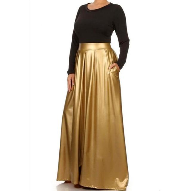 a6a78566c015b0 Womens Gold High Waist Skirt Long Warm Pleated Skirts Fashion Casual Maxi  Runway Faux Leather Plus Size Faldas Autumn Skirts