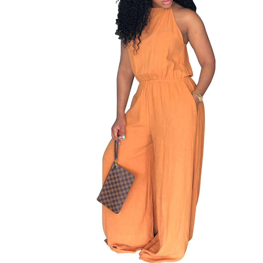 Casual Playsuit Summer Romper Women Jumpsuits Overalls 2018 Solid Sleeveless Long Playsu ...