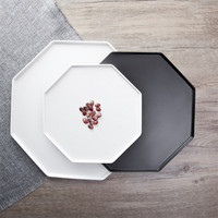 White Hexagon Ceramic Dish Plate Nordic Black Fruit Snack Storage Tray Simple Ins Popular Tableware
