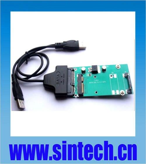 USB SATA cable+ mSATA 3x7cm SSD to SATA Adapter for Mini PCIe intel