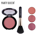 Party Queen Newest Velvety Smooth Natural Glow Cheek Color Blusher Palette Set With Brush Makeup Silky Sleek Blush For Fair Skin
