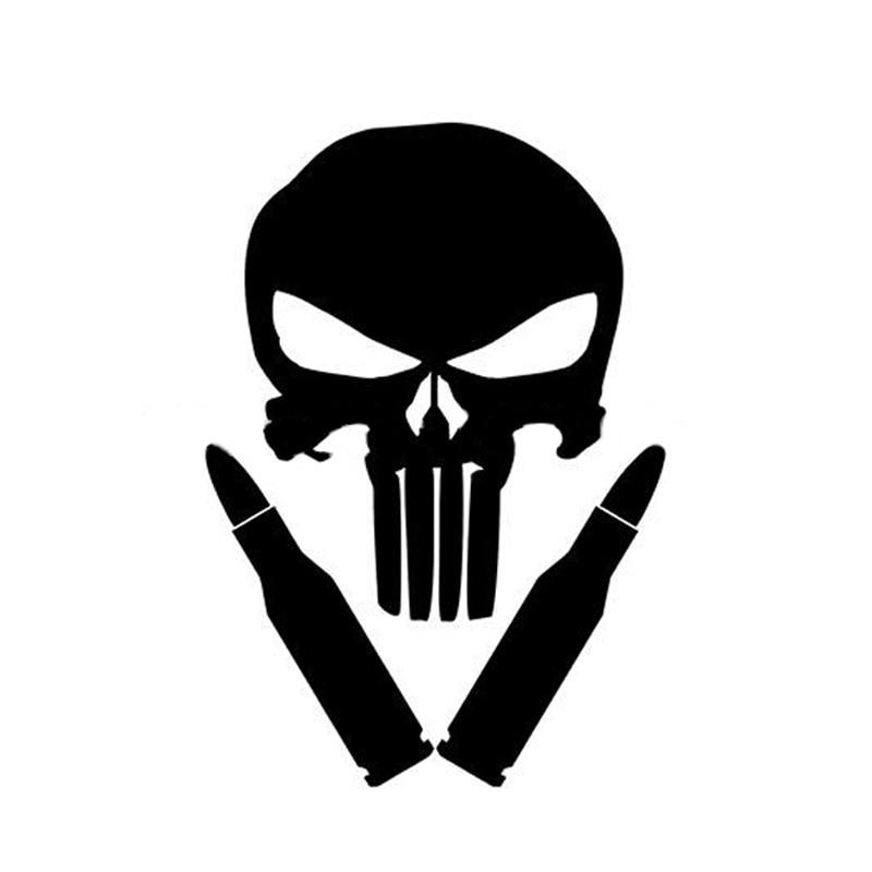 Nº9.5*14 cm Punisher cráneo Etiquetas de coche y calcomanías ...