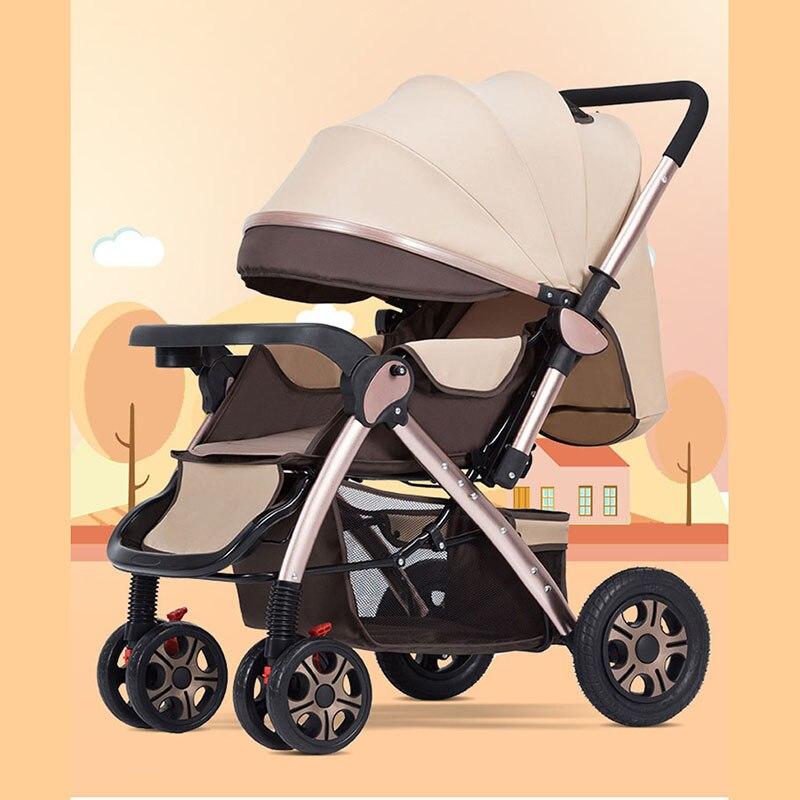 Haute poussette de paysage peut s'asseoir inclinable léger pliant bébé chariot quatre roues choc bébé deux voies bébé chariot