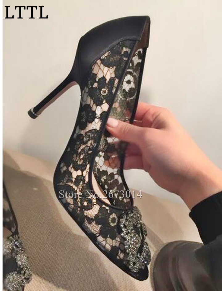 ФОТО 2017 Sexy Pumps Thin Heel Slip-on Elegant Women Single Shoes Black Lace High Heels Pumps Pointed Toe Female Party Dress Shoes