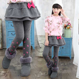 Thick Winter Baby Clothes Girls Skirt Pants 2018 Plus Velvet Kids Girl Pant Cotton Sweet Bow Trousers Children Clothing 3p056(China)