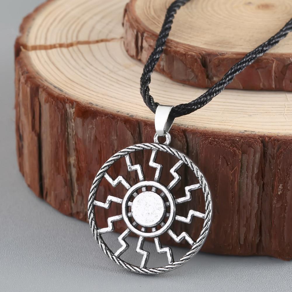 Antique Viking Black Sun Pendant Necklace Norse Slavic Amulet