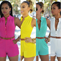 Shorts Rompers Womens Jumpsuits Summer Ladies Sexy Deep V Neck Sleeveless Floral Tie Waist Casual Jumpsuit with a belt