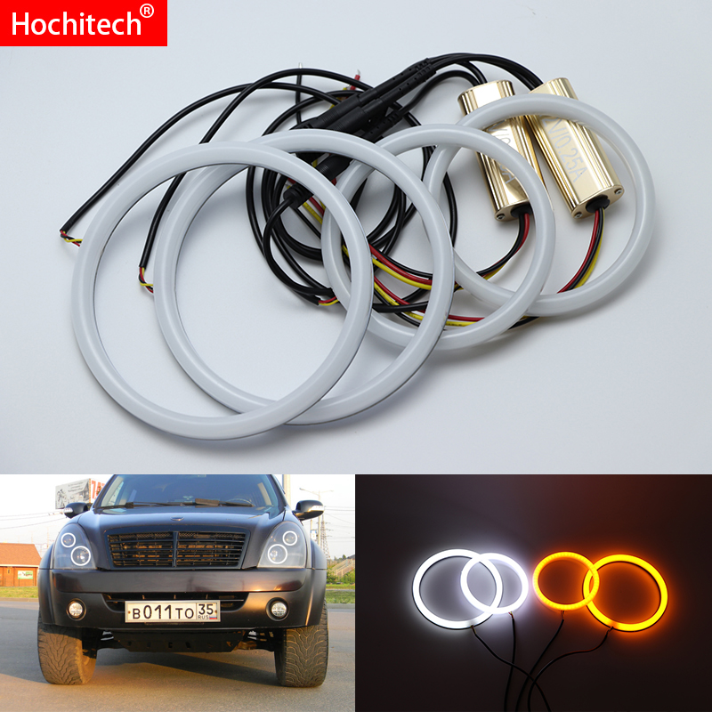 for Ssangyong Rexton 2006-2011 White & Amber Dual color Cotton LED Angel eyes kit halo ring DRL Turn signal lightfor Ssangyong Rexton 2006-2011 White & Amber Dual color Cotton LED Angel eyes kit halo ring DRL Turn signal light