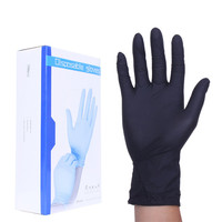 Tattoo Medical Supplies 50pcs Box Black Disposable Pvc Latex Oil Proof Nitrile Gloves Rubber Tattoo Gloves