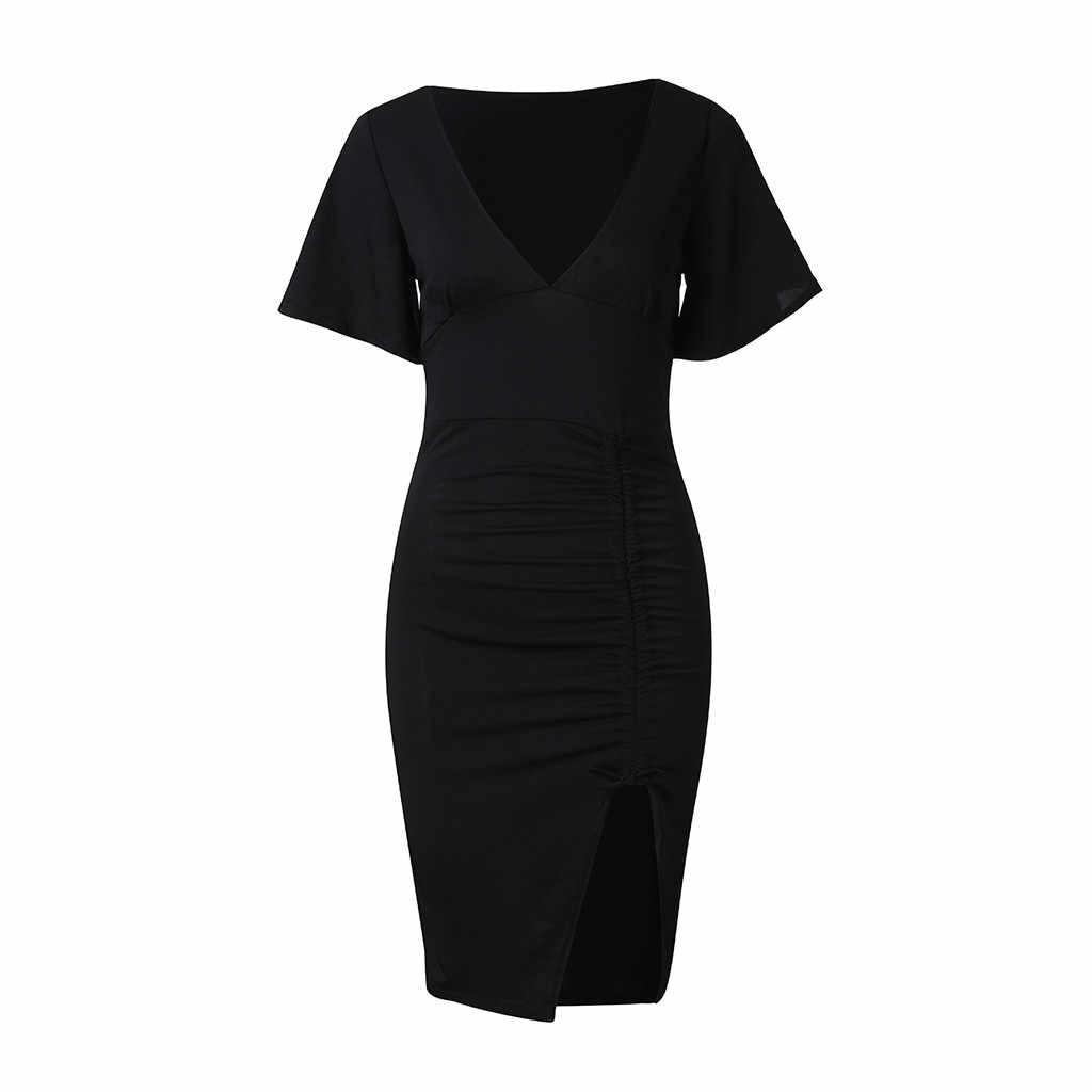 Модные женские Вечерние черные платья с v-образным вырезомОбтягивающее платье с коротким рукавом, раздельные сексуальные платья