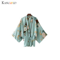 2017 Vintage Bow Tie Waist Cardigan Flower Print Kimono Shirt Woman Cross V Neck Batwing Sleeve