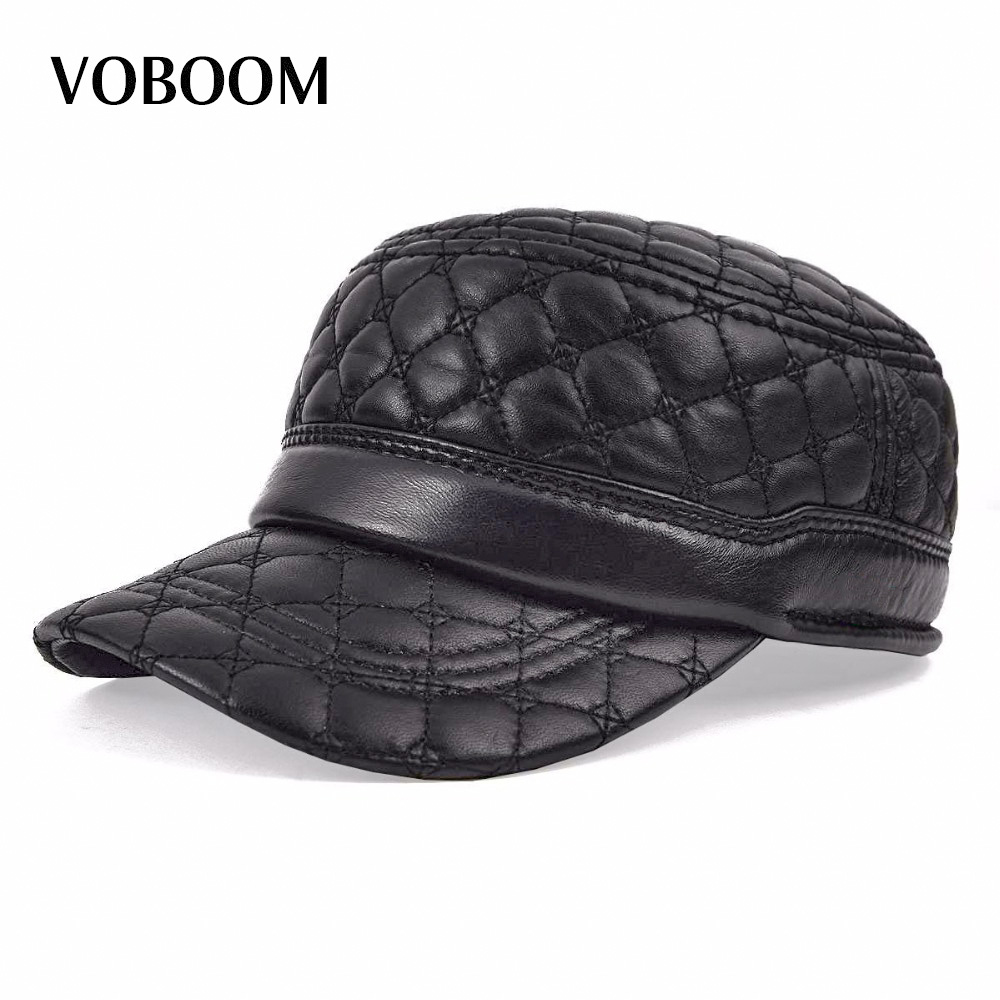VOBOOM Black Sheepskin Hat Cadet Cap Men Genuine Leather Daddy Driver Thermal Ear Protection Warm Male Hats 0011 vintage round frame english letters cute sunglasses fashion and personality cross my heart