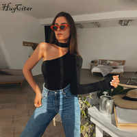 Hugcitar cotton halter one shoulder sexy bodysuit women new fashion 2019 winter spring solid bodycon casual long sleeve body