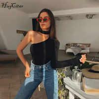Hugcitar cotton halter one shoulder sexy bodysuit women new fashion 2019 winter spring solid bodycon casual long sleeve body