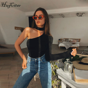 Hugcitar cotton halter one shoulder sexy bodysuit women new fashion 2019 winter spring solid bodycon casual long sleeve body(China)