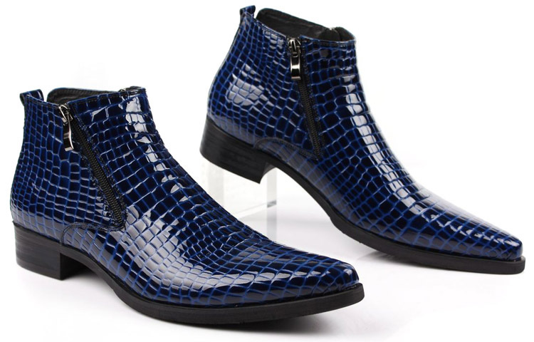 Large size EUR46 blue Serpentine zipper dress shoes mens ankle boots genuine leather pointed toe mens motorcycle boots