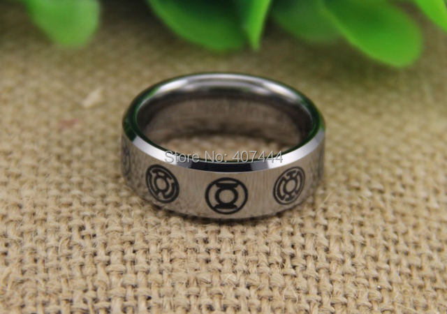 Free Shipping YGK JEWELRY Hot Sales 8MM Silver Beveled GREEN LANTERN Darkest Night Mens Tungsten Wedding