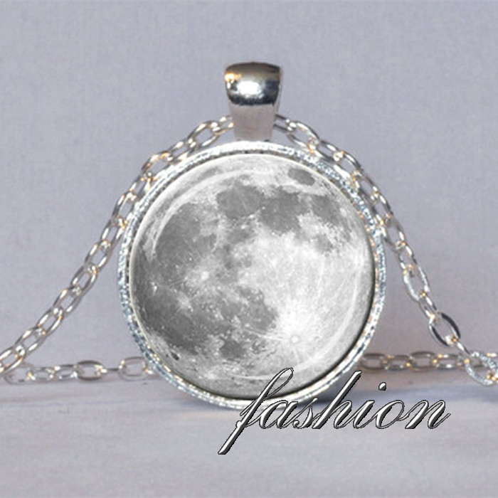 FULL MOON NECKLACE White Gray Full Moon Pendant Lunar Necklace Planet Jewelry Astronomy Pendant font b