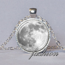 FULL MOON NECKLACE White Gray Full Moon Pendant Lunar Necklace Planet Jewelry Astronomy Pendant Science Jewelry