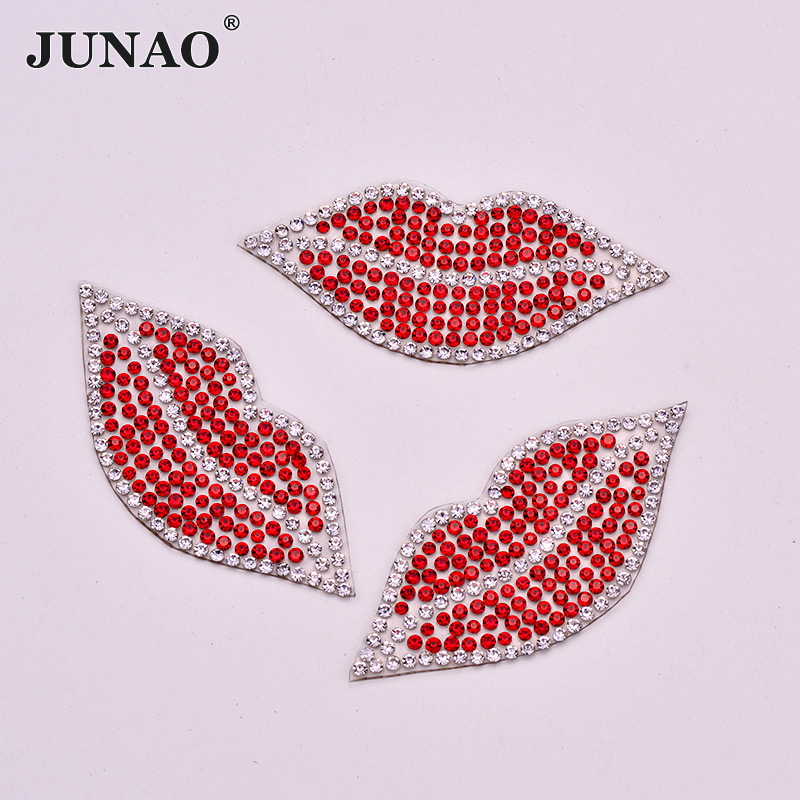JUNAO 10pcs Rhinestones Iron On Patches Strass Motifs Red Lips Design Hotfix  Crystal Applique For Clothes 637c9dd52761
