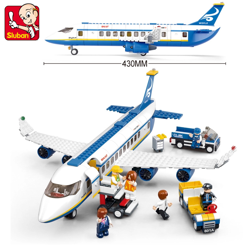Sluban Model building kits compatible with lego aviation Airbus 422 pcs 3D blocks Educational