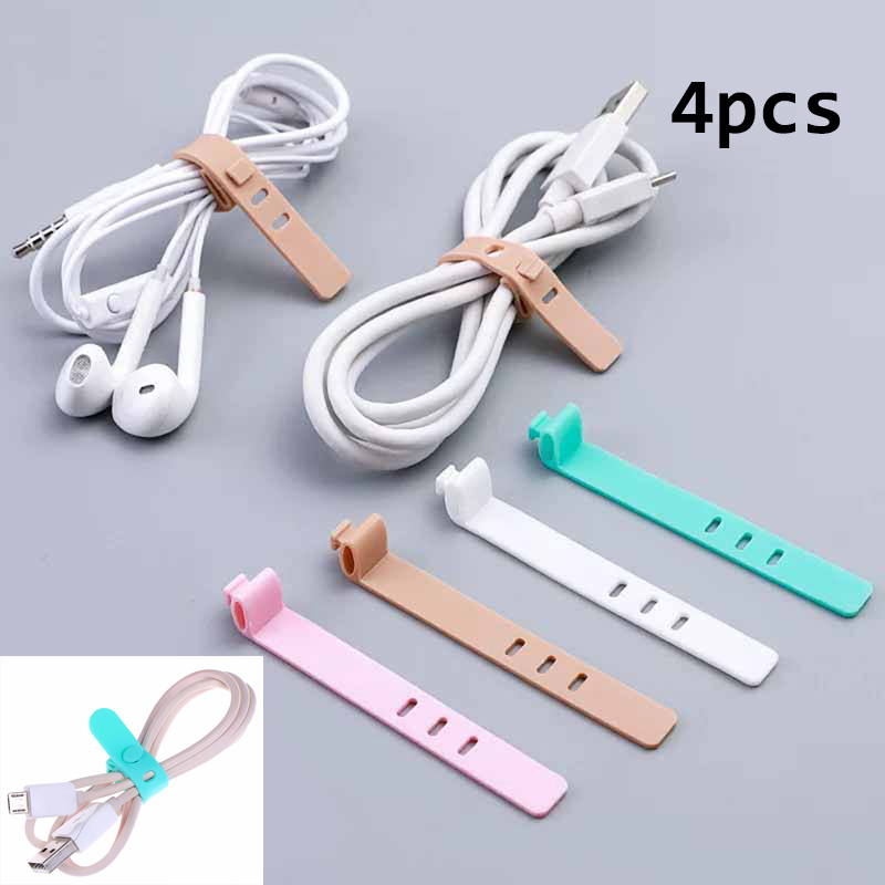 4Pcs Silicone Cable Organizer USB Data Wrap Cord Winder Wire Protector Holder Office Stationary Desk Set Accessories Supplies