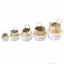 Handmade Wicker Baskets Foldable Laundry Woven Storage Basket Natural Rattan Seagrass Garden Flower Pot Planter Basket White недорого