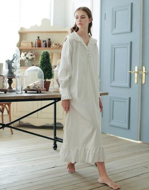 4eedeb2ecd 2016New spring summer Vintage style 100%cotton V neck bedgown
