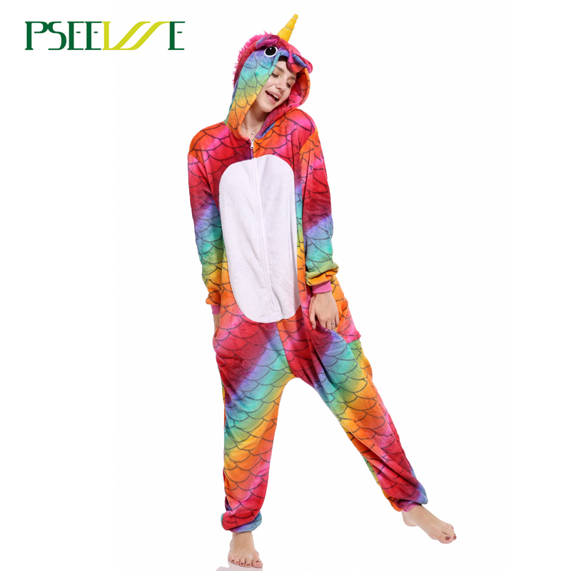 Women Pajama Flannel Panda Unicorn Cartoon Cosplay Adult -2793