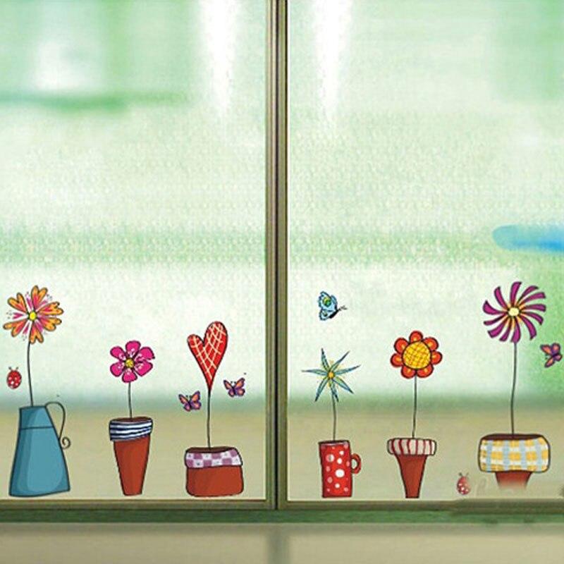 butterfies linda flor etiqueta de la pared etiqueta de la ventana de la cocina pegatinas de