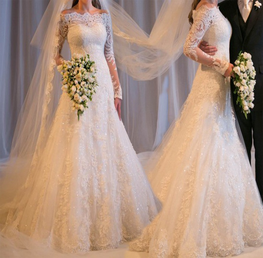 2016 Elegant Long Sleeve Wedding Dresses A Line Off Shoulder Applique Lace Sequin Organza Sheer Bridal Gowns Yk1A084