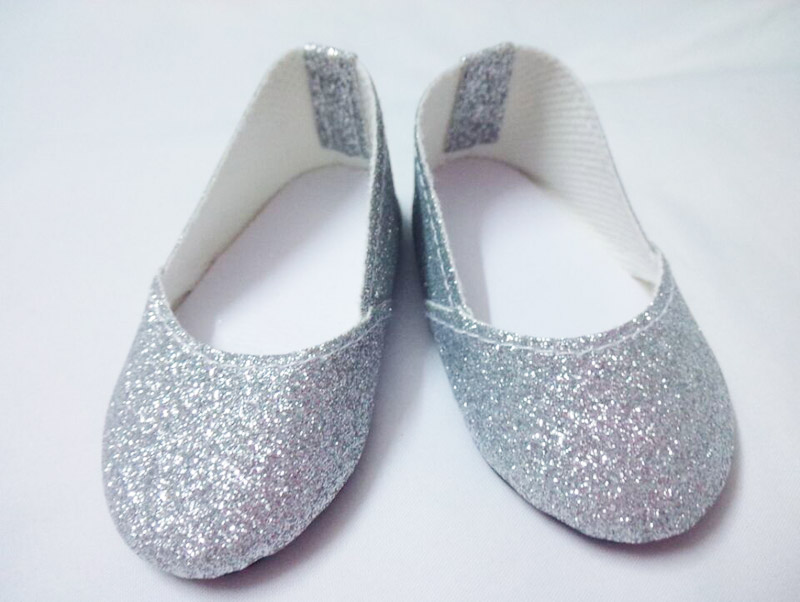 """Silver Glitter Bow Shoes made for 18/"""" American Girl Doll Clothes"""