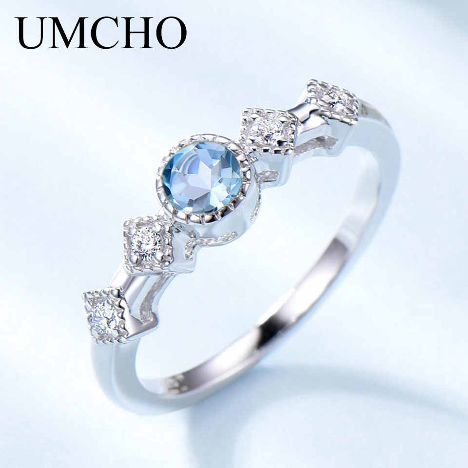 UMCHO Natural Sky Blue Topaz Gemstone Rings for Women Solid 925 Sterling Silver Ring Gemstone Engagement Fine Jewelry