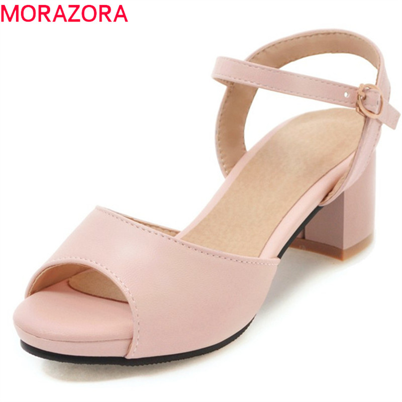 MORAZORA 2018 new arrival woman sandals big size 34-47 summer shoes simple buckle fashion shoes comfortable square heel shoes asumer 2018 fashion summer ladies shoes new arrival pink blue square heel sweet women sandals big size 34 43