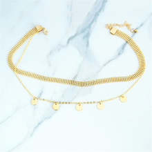 Women Multi-layer Necklace Chain Round Pendant Choker Alloy Fashion