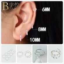 BOAKO Hiphop Sterling Silver Earrings For Women/Men Small Hoop Mini Circle Ear Bone arete Gothic Girl Rapper Eardrop Z5