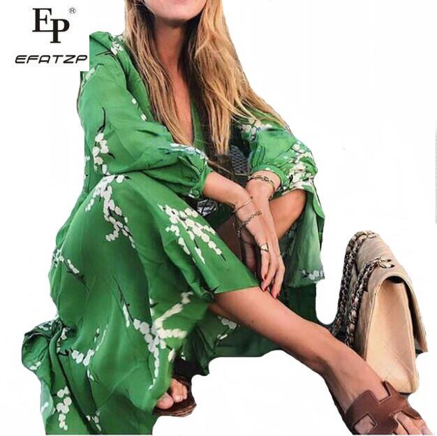 Vert Col D'été Robes Floral Longue Midi Efatzp De Wrap Femme Bleu Longues V vert Plage Robe Dames À Ete Imprimé 2018 Manches pTwtx5qv