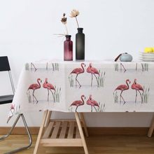 Nordic Red Flamingo Tablecloth Tropical Palm Animal White Linen Table Cloth Manteles Festival Decor Oilproof Picnic Mat(China)