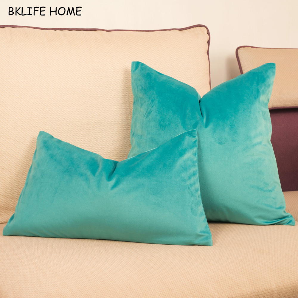 Lovely Velvet Cushion Cover Cyan Green Soft Pillow Case Chair/Sofa Pillow Cover No Balling-up Home Decorative Without Stuffing